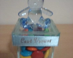Caixa de vidro com urso em acr�lico