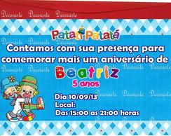 Convite Anivers�rio 10x15  Patati Patat�