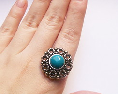 Anel Vintage Flower Stone Turquoise