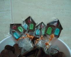 Pirulitos de chocolate casinha