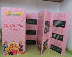 Cardapio Barbie escola de princesas