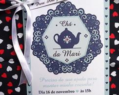 Convite Ch� de Panela Azul