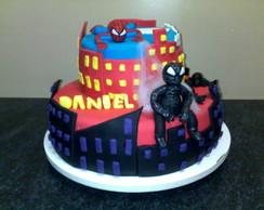 bolo homem aranha vermelho e negro