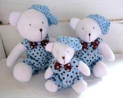 Trio de Ursos Azul e Marrom