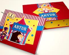 �lbum de fotos circo com caixa