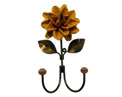 Cabide floral 2 ganchos em ferro forjado