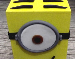 lembrancinha cofre minions biscuit mdf