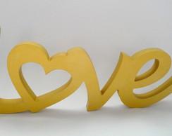 Palavra Love Dourado Em Mdf
