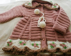 casaco croch� Menina Rosa Chic