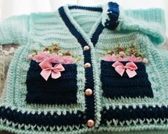 casaco croch� azul e rosa