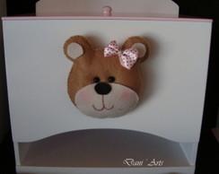 Porta fraldas ursa rosa e marrom