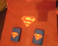 Kit Capa e Par de Bracelete Super Heroi