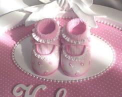 Enfeite de maternidade -rosa e p�rolas