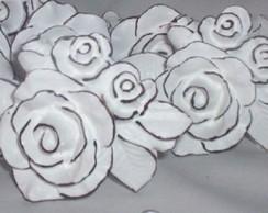 Puxadores de resina buqu� de rosas