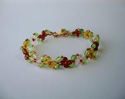 Pulseira de flores de cristais coloridos