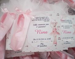 convite angelina ballerina c/sapatilha