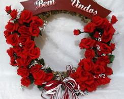 Guirlanda Floral Bem Vindos Vermelha