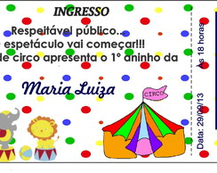 Convite circo ingresso
