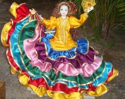 Boneca Bailarina Cigana Porcelana Luxo
