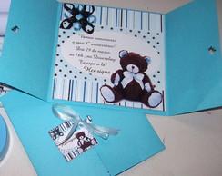Convite Ursinho Azul e Marrom