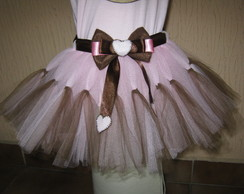 Saia de tutu ursinha rosa  + tiara