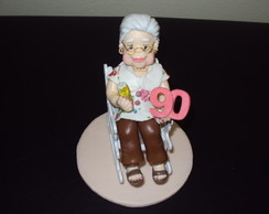 Topo de bolo anivers�rio da vov� 90 anos