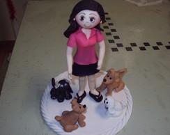 topo  de bolo menina com c�es