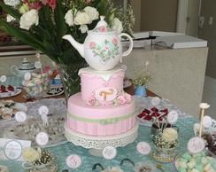 Bule e x�caras topo de bolo