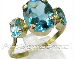 Anel Ouro 18K Top�zio Sky Blue Natural