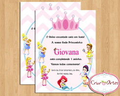 Convite Princesas Disney Baby - Mod.2