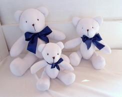 """Kit Ursos Branco La�o Azul """"P, M e G"""""""