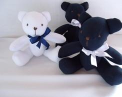 """Trio de Ursos Branco e Azul Marinho """"P"""""""