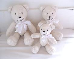 "Kit Ursos Bege La�o Branco ""P, M e G"""