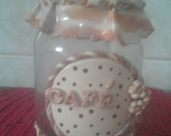 POTE CAF� DECORADO COM BISCUIT