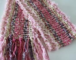 Cachecol rosa tecelagem manual