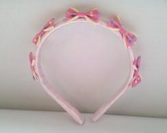 tiara infantil lacinhos rosa