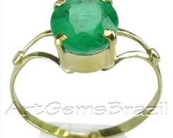Anel ouro 18KL Esmeralda Brasil natural