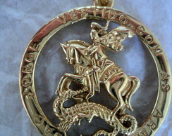 Medalha S�o jorge prata banhado ouro ..