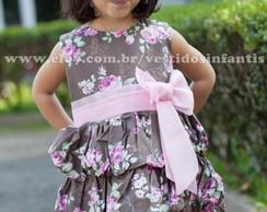 Vestido Infantil Balon� Marrom Floral