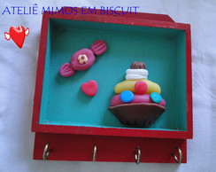 Porta Chaves MDF  Decorado com Biscuit