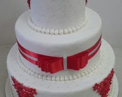 Bolo Casamento Branco E Vermelho