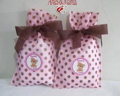 Sacola De Tnt Rosa E Po� Marrom Ursinha