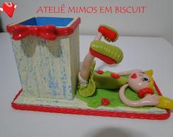Porta L�pis com Boneca de Biscuit