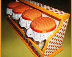 Porta-condimentos laranja e branco