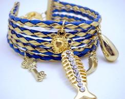 Pulseira Couro Azul Dourado