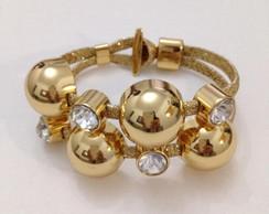 P086 - Pulseira Bolhas Dourada