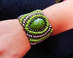 Bracelete Bordado Verde / Grafite /Prata