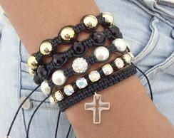 Kit pulseira com crucifixo Swarovski