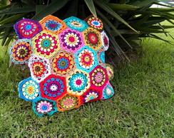 Almofada Hex�gonos em crochet