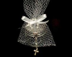 Potinho de vidro com �gua benta e ter�o